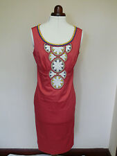 Boden Coral Pink Bead & Flower Design shift dress 12R or 14R VERY PRETTY DETAIL!