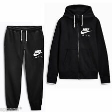 Nike Air Mens Full Tracksuit Trousers Pants Black Round Neck Black Tracksuit