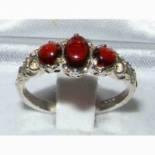 Solid 925 Sterling Silver Natural Cabochon Garnet English Victorian Trilogy Ring