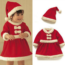 Baby Boys/Girls Christmas Claus Santa Dress+Hat Outfit Costume Xmas Clothes ABUS