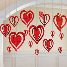 Blushing Valentines Day 3D Red Heart Hanging Foil Party Wedding Decoration Heart