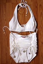 New Juicy Couture Chiffon White Skirted @ Piece Swimsuit Sm W/Logo Charms