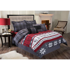 NEW Twin Full Queen King Bed White Gray Winter Stripe Plaid 7 pc Comforter Set