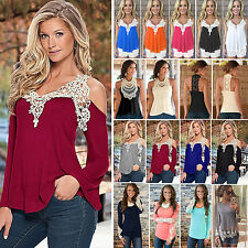 Boho Womens Lace Crochet T-Shirts Tank Vest Tops Casual Loose Tee Blouse Outwear