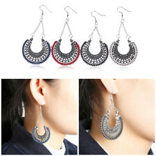 New Women Fashion Carved Ethnic Vintage Silver Moon Pendant Hook Dangle Earrings