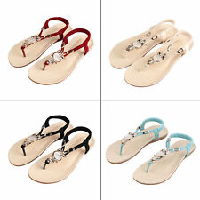 Fashion Women Summer Bohemia Thong Slippers Flip Flops Flat Sandals Beach Shoes