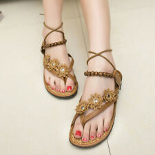 Fashion Womens Girls Summer Flower Flat Flip Flops Sandals Loafers Bohemia Shoes