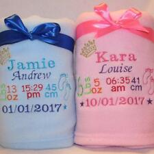 PERSONALISED BABY BLANKET EMBROIDERED BIRTH BLOCK CHRISTENING BOY/GIRL GIFT