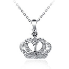 Shining Crown Rhinestone Gold Plated Pendant Chain Clavicle Necklace Gift KW