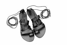 Ancient Greek Women Black Leather Handmade Lace up Sandals