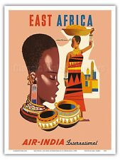 East Africa African Tribal Women Vintage Airline Travel Art Poster Print