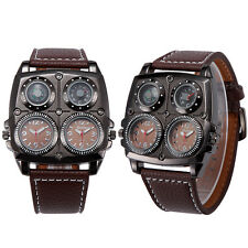 Men Leather Dual Time Military Army Compass Thermometer Sport Quartz Wrist Watch
