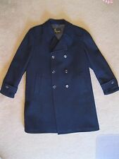 VINTAGE LAKELAND NAVY BLUE WOOL TRENCH PEA COAT DOUBLE BREASTED MEN'S 42 R LARGE