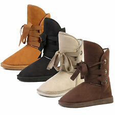 Winter Women Girls Warm Fur Lined Lace up Mid-calf Snow Flat Boots Shoes 4 Color