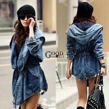 Women Denim Hooded Warm Loose Winter Long Outwear Outerwear Trench Jacket Coat