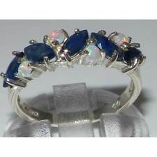 Unusual Solid Sterling Silver Natural Fiery Opal & Sapphire Eternity Band Ring