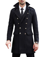 New Winter Men's Formal Double Breasted Outerwear Wool Coat Business Overcoat