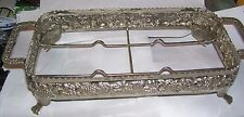 unbranded fruit pattern silverplate casserole dish footed serving tray caddie