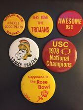 Lot of 6 USC Trojans Vintage Buttons Pinback 70s-80s Rose Bowl Football Tommy