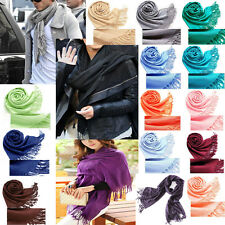 Unisex Pashmina Cashmere Silk Solid Shawl Wrap Long Range Scarf Tippet 30 Colors