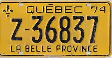 🚨🚨☀️☀️ 🏁 🏁 AUTHENTIC CANADA 1974 QUEBEC LICENSE PLATE.  RENTAL Z-36837
