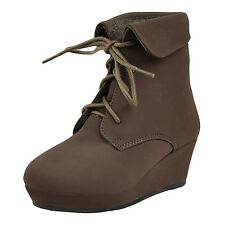 Kids Ankle Boots Lace Up Suede Casual Wedge Shoes Brown SZ 13