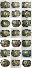New Initial Letters Rodeo ANTIQUE SILVER Western Style Cowboy  Tone Belt Buckle