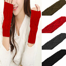 Ladies Half Finger/Fingerless Gloves Winter Wrist Arm Hand Warmer Knitted Mitten