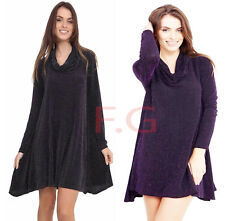 New Womens Long Sleeves Ribbed Knitted Polo Turtle Neck Swing Skater Party Dress