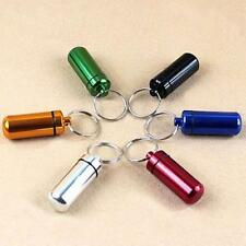 Waterproof Aluminum Portable Drug Bottle Container Pill Box Key Chain