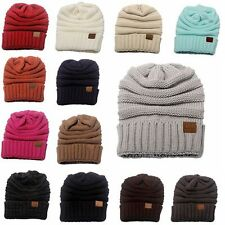 Women Men Hot Warm Folds Hat Knitted Wool Cap Unisex Winter Hip-Hop Beanies
