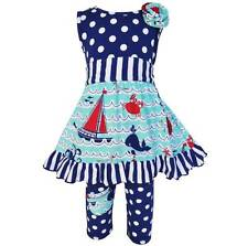 AnnLoren Girls Boutique Nautical Dress Polka Dot Legging Capri 12-18 Months