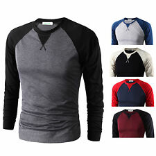 Mens Casual Fitted Cotton T-shirt Crew Neck Long Sleeve Jumper Tops Pullover Tee