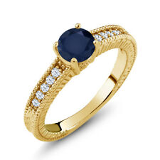 1.20 Ct Round Blue Sapphire White Topaz 18K Yellow Gold Plated Silver Ring