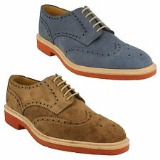 Mens Loake Oiled Suede Leather Lace Up Formal Shoes Navy Brown Logan Size 6 - 12