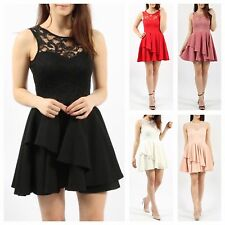 WOMENS LADIES SLEEVELESS SWEETHEART LACE BODICE DOUBLE FRILL FLARED SKATER DRESS