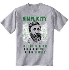 HENRY DAVID THOREAU SIMPLICITY QUOTE - NEW COTTON GREY GREY TSHIRT
