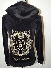 JUICY COUTURE NWT WOMEN'S VELOUR HOODIE CREST BLACK GOLDEN LOGO XS SHIP FAST