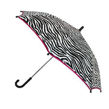 New CTM Girls' Zebra Print and Pink Trim Hook Handle Umbrella