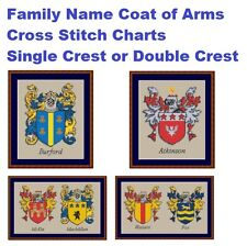 Surname Family Crest Coat of Arms Cross Stitch Chart - 25000+ names available