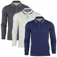 Mens Polo T-Shirt by Brave Soul 'Kennedy' Tipped Collar Long Sleeved
