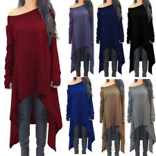 Women Long Sleeve Tunic Top Casual Loose Fit Warm Knitted Pullover Sweater Dress