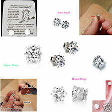 Sparkly Crystal Magnetic Earrings ROUND/SQUARE Clip-On Non Pierced Magnet Stud