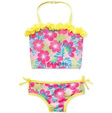 Penelope Mack Toddler Girls Two-Piece Tankini Swimsuit - Yellow Pink Floral