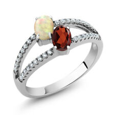 1.23 Ct Oval Cabochon White Ethiopian Opal Red Garnet 925 Sterling Silver Ring