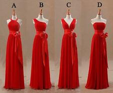 New Red Chiffon Long Bridesmaid Dresses Formal Gown Party Evening Prom Dresses