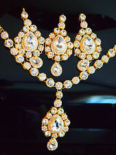 FREE GIFT/Bollywood Bridal Costume Jewellery-Necklace-Earrings-HeadPiece