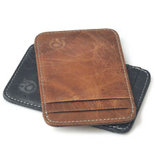 Genuine Cowhide Leather ID Credit Card Case Holder Pouch Portrait Wallet Purse