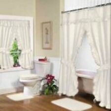 Ruffled Shower Curtain or Window Curtain Bath Decor in Ivory Color