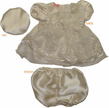 Baby Girls Christening Bridesmaid Party Satin Dress Hat Knickers, 0-3 3-6 months